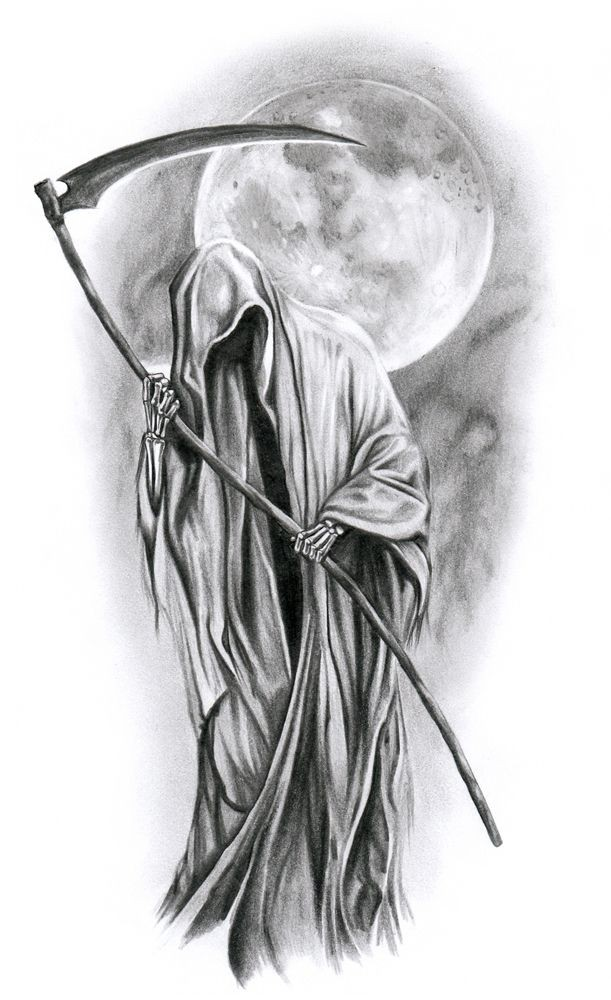 Old grey-ink death on full moon background tattoo design