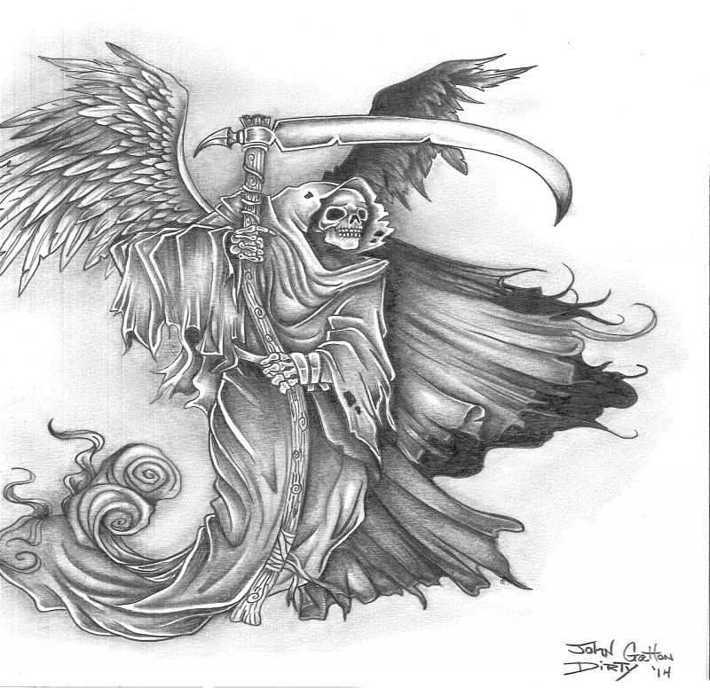 Old grey-ink death with giant wings and wooden scythe tattoo design