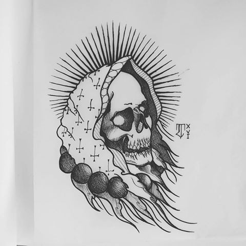 Old grey-ink female death in a necklace tattoo design