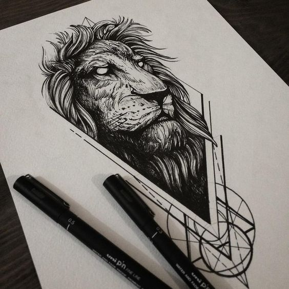 Old Mad Eyed Lion With Geometric Drawings Tattoo Design