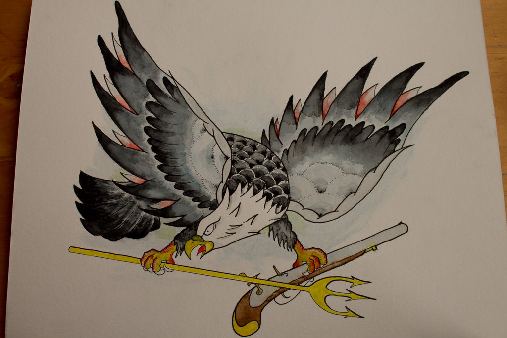 Old school american navy eagle with crossed gun and trident by Fifciaa