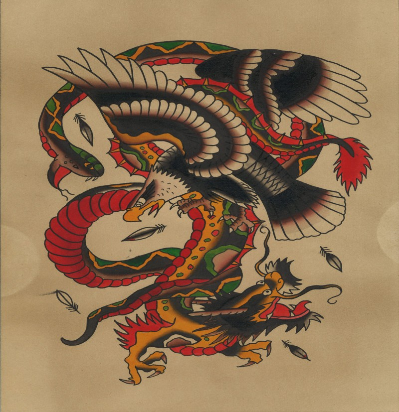 old school asian dragon fighting with snake and eagle tattoo design. Black Bedroom Furniture Sets. Home Design Ideas