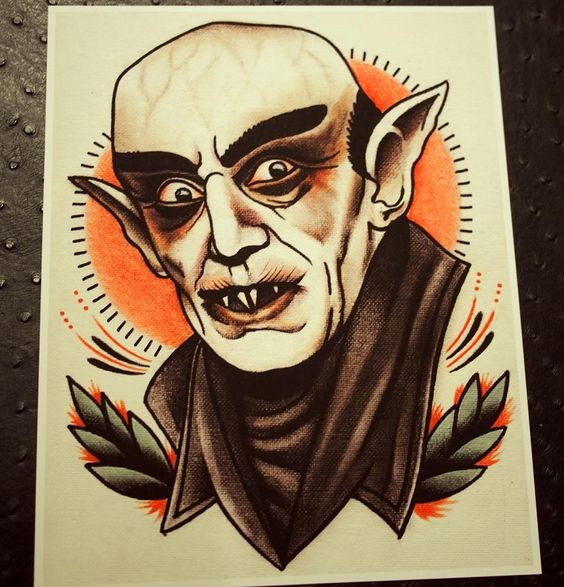 Old school bold vampire on shining sun background tattoo design