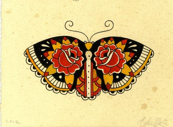 Old school colorful moth with rose pattern on wings tattoo design