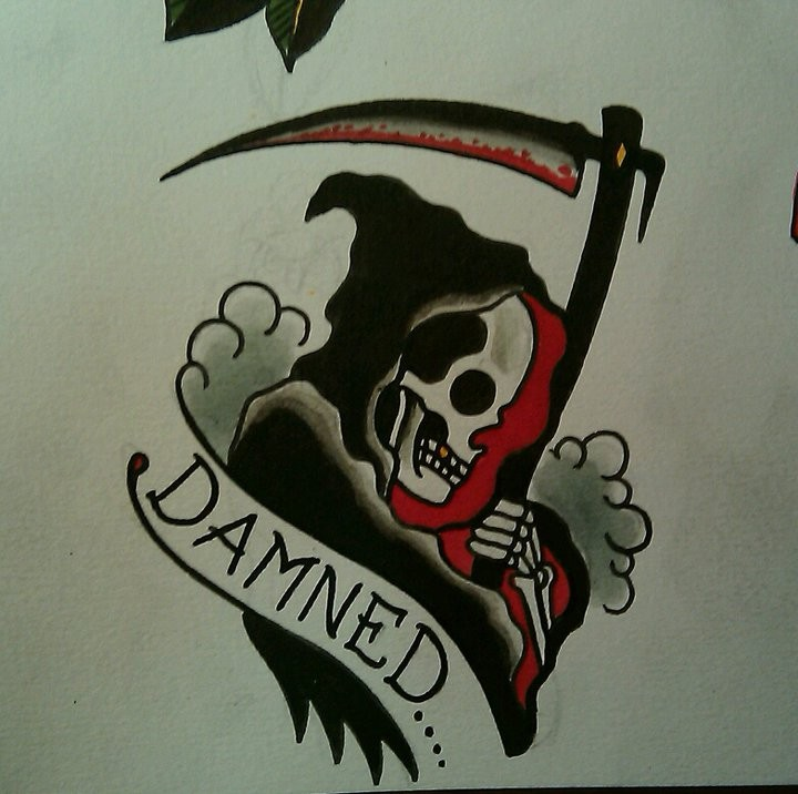 Old school death with a banner on green smoke background tattoo design