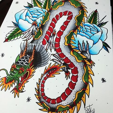 Old school dragon with blue rose buds tattoo design