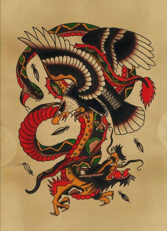 old school eagle fighting with lion and snake tattoo design. Black Bedroom Furniture Sets. Home Design Ideas