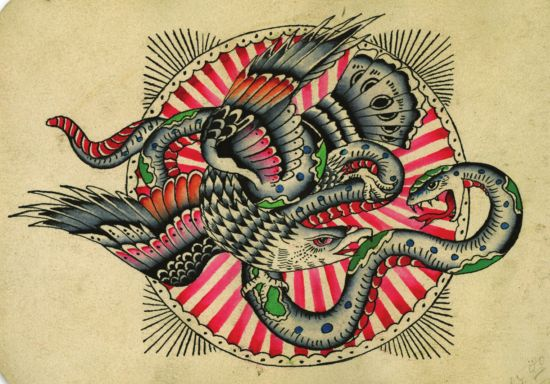 Old school eagle fighting with snake on pink striped circle background tattoo design