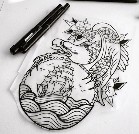 Old school eagle sitting on roped frame with marine ship view tattoo design