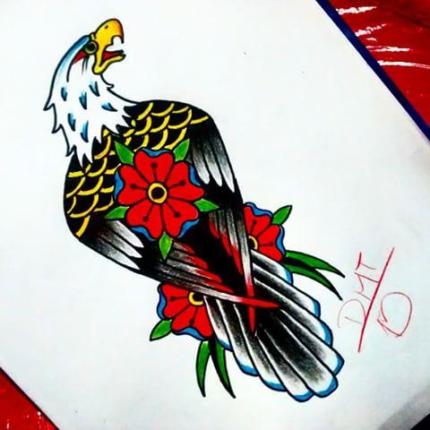 Old school flower-patterned eagle tattoo design