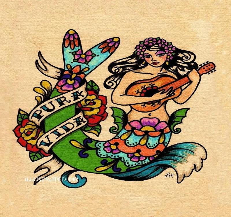 Old school folk-patterned mermaid playing guitar tattoo design