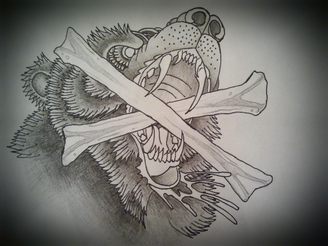 Old school grizzly with crossed bones in teeth tattoo design by Dave Noel Perkins