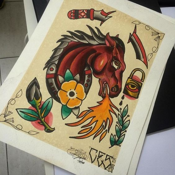 Old school horse breathing with flame tattoo design