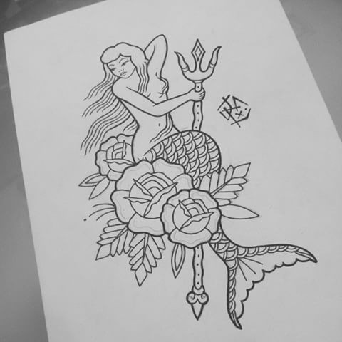 Old School Mermaid With Trident And Roses Without Coloring Tattoo