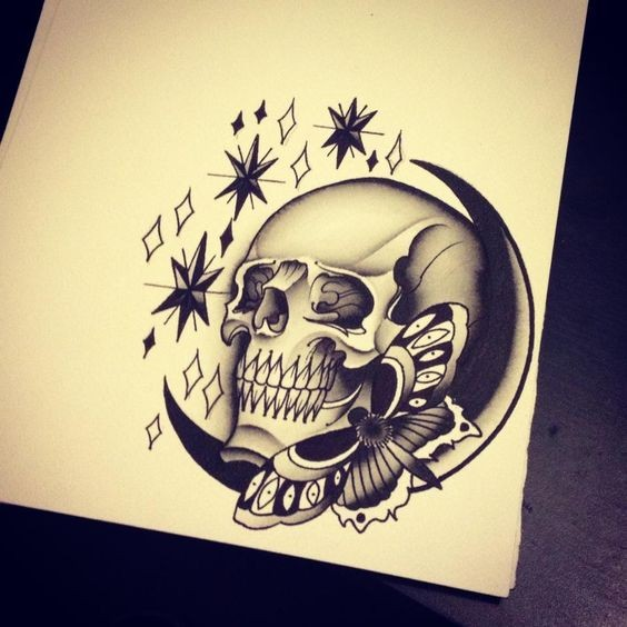 Old school moth with moon and skull surrounded with stars tattoo design