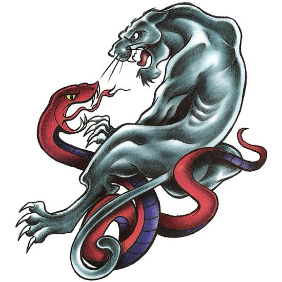Old school panther fighting with evil snake tattoo design