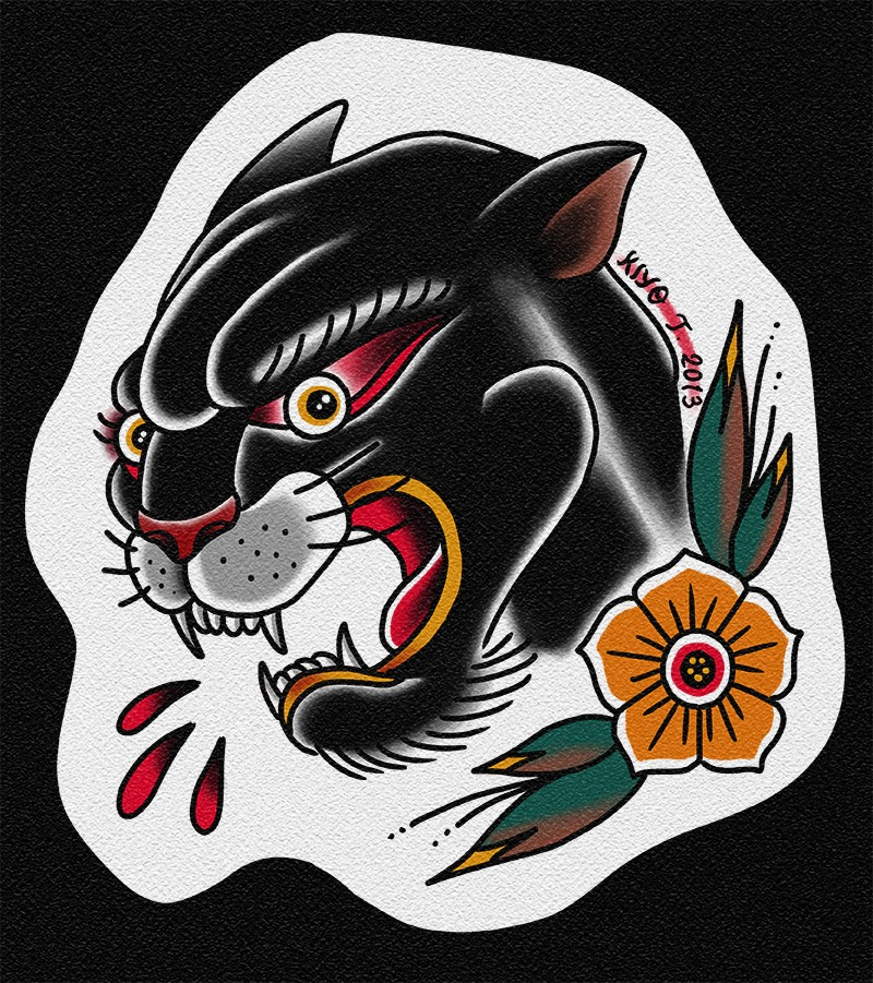 Old school panther with blood drops and flower tattoo for Old school panther tattoo
