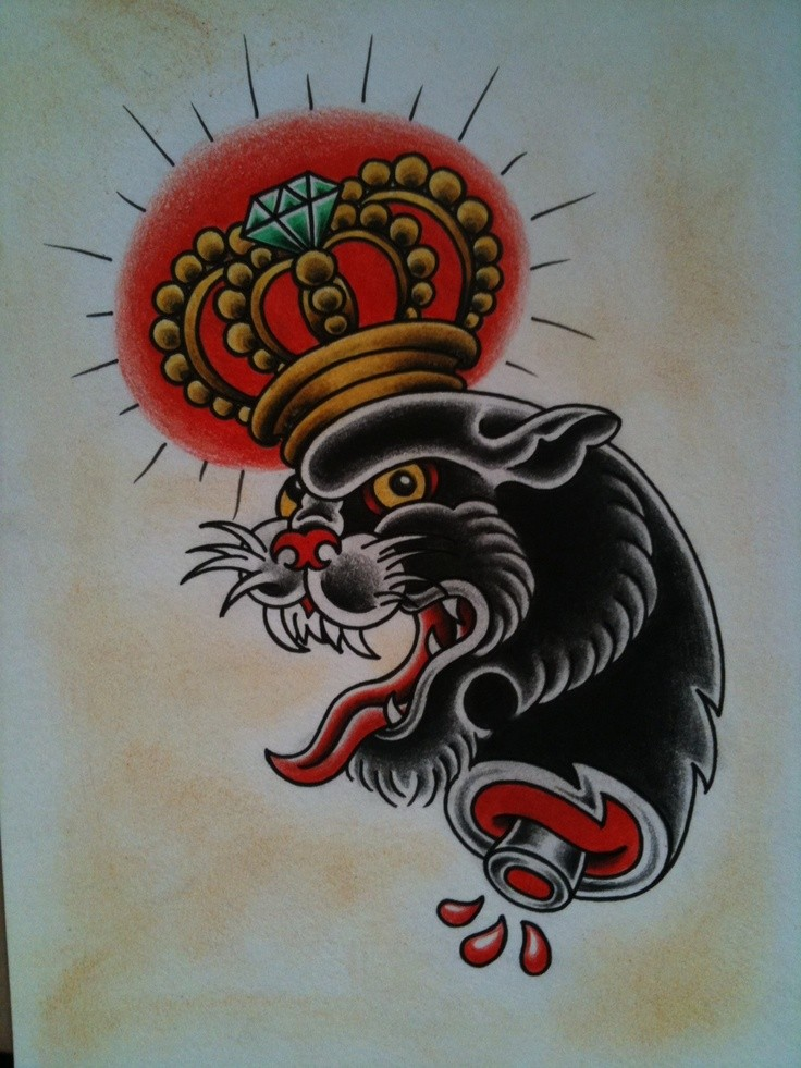 Old school panther with imperial crown tattoo design
