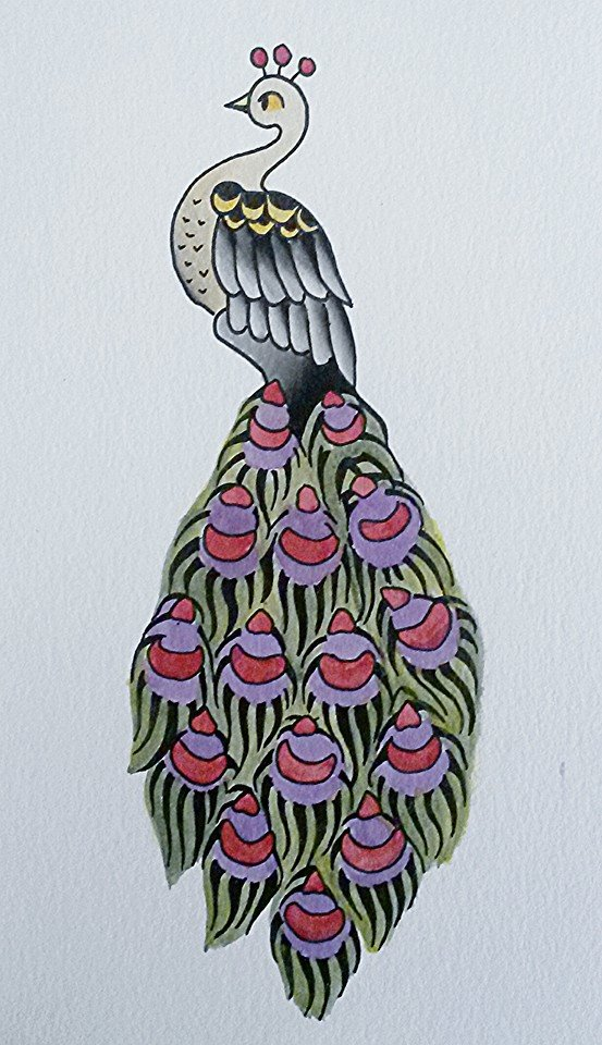 Old school peacock with pink-feathered tail tattoo design by Nasty Meow Meow