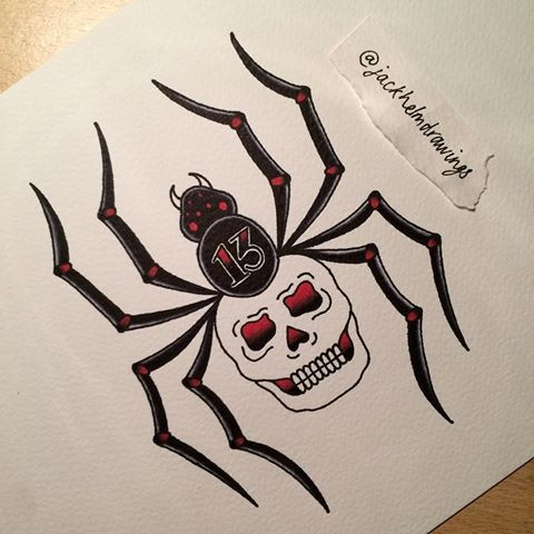 Old school spider with skull body and 13 number print tattoo design