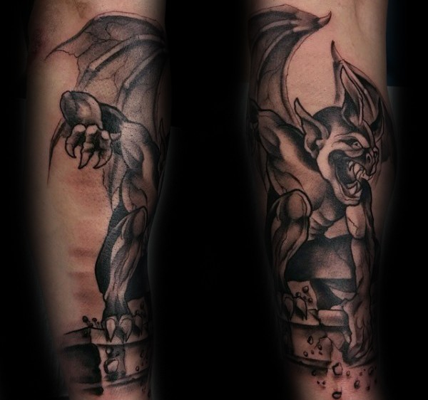 Old school style black ink half sleeve tattoo of evil gargoyle