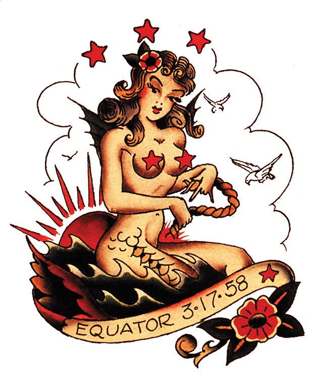 Old school style mermaid with red stars and banner tattoo design