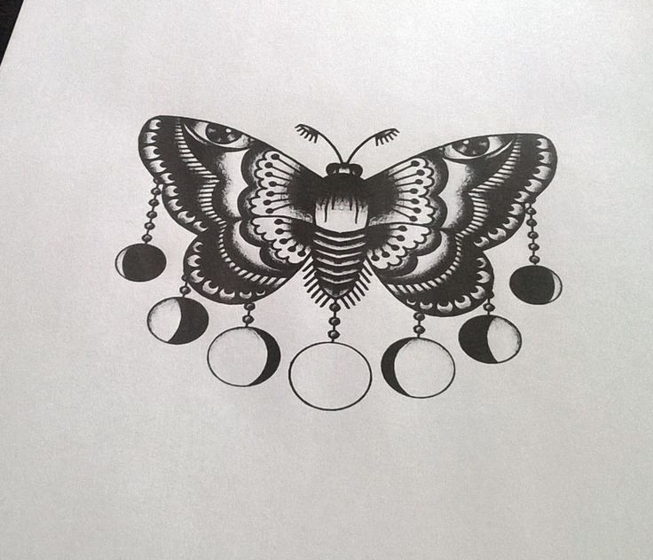 old school style moth with different hanging moon phases tattoo design. Black Bedroom Furniture Sets. Home Design Ideas
