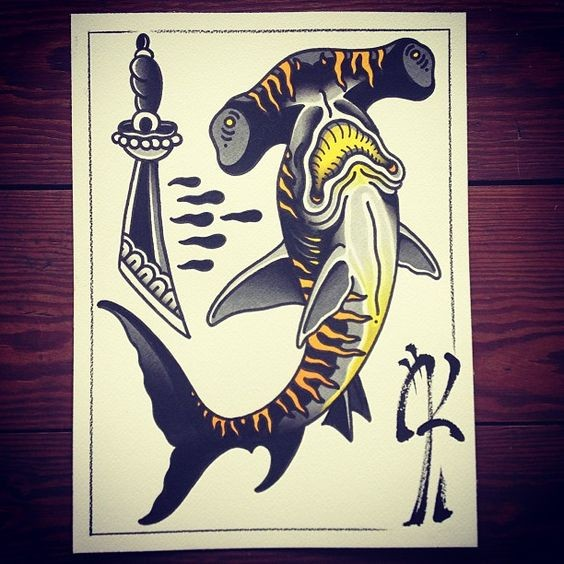 Old school tiger hummer shark and thick dagger tattoo design