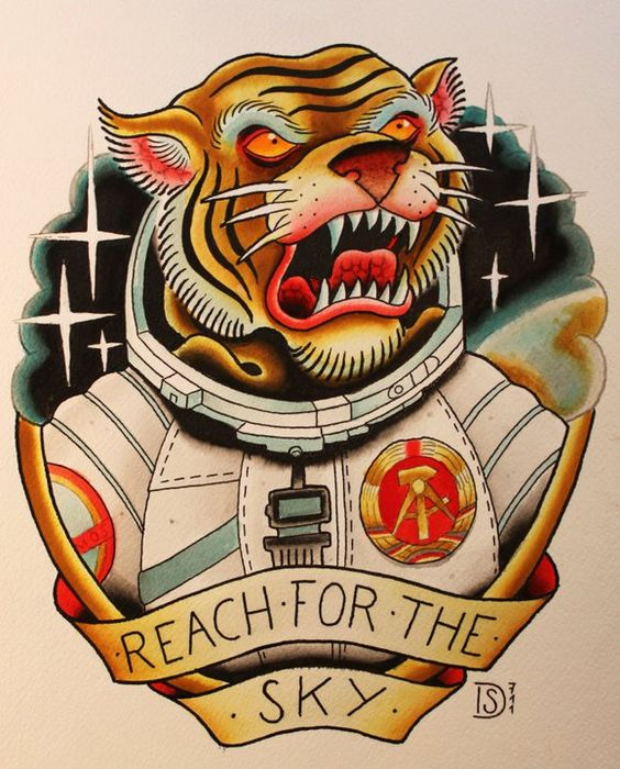 Old school tiger in space suit tattoo design