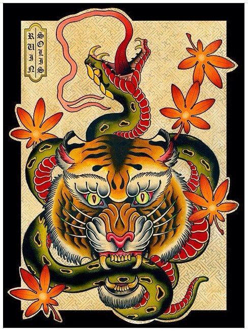 Old school tiger keeping long green snake in teeth tattoo design