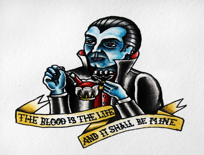 Old school vampire keeping a cup of blood with a golden banner tattoo design