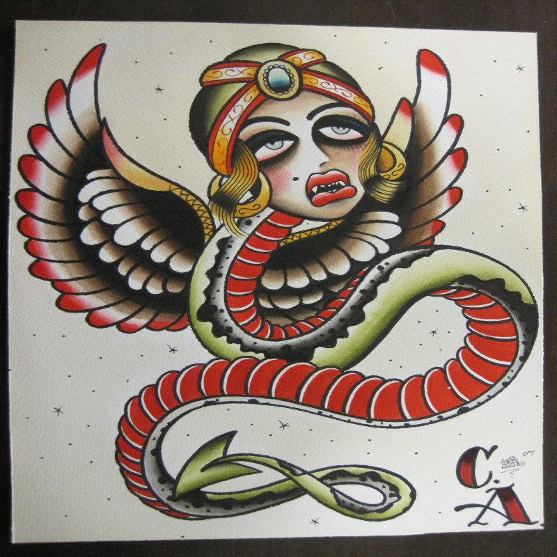 Old school winged snake with gypsy girl head tattoo design