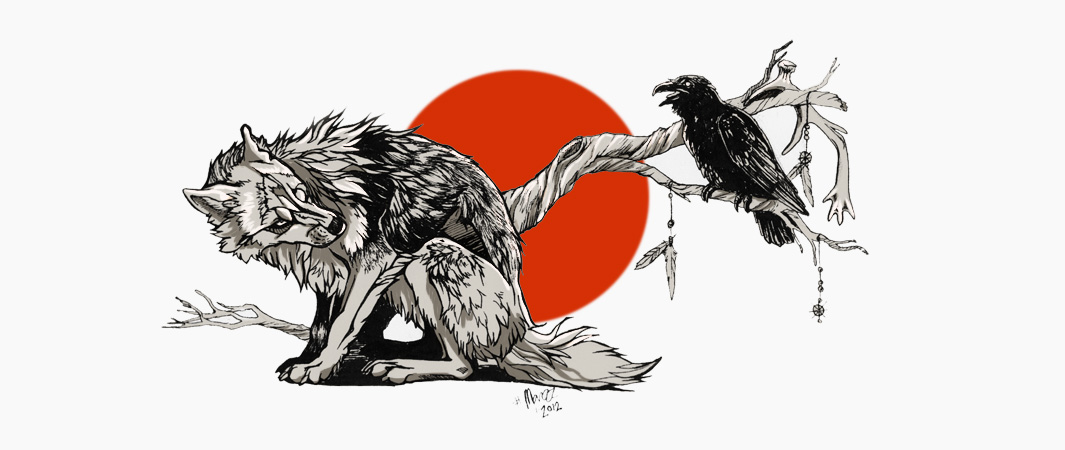 Old wolf and sad raven on red sun background tattoo design by Marzzpark