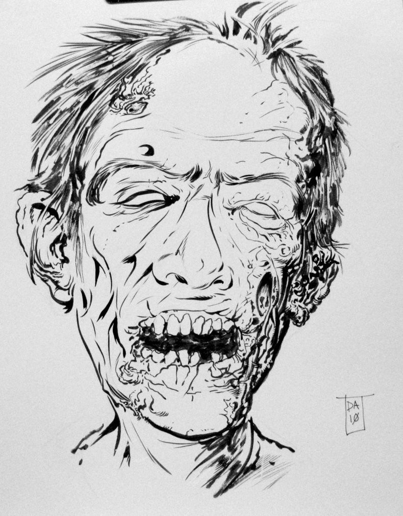Old zombie man face without coloring tattoo design