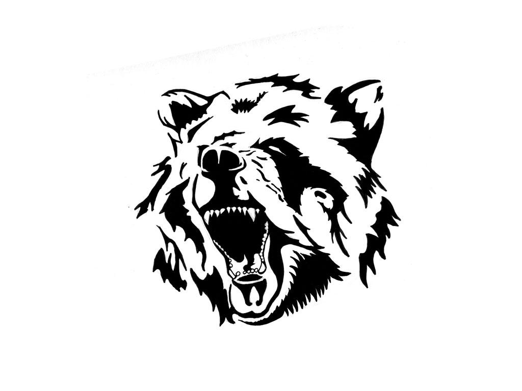 Open mouth roaring bear head tattoo design