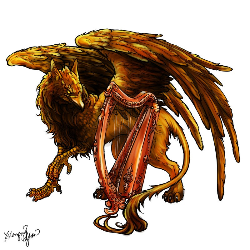 Orange-and-brown smiling griffin walking near the harp tattoo design