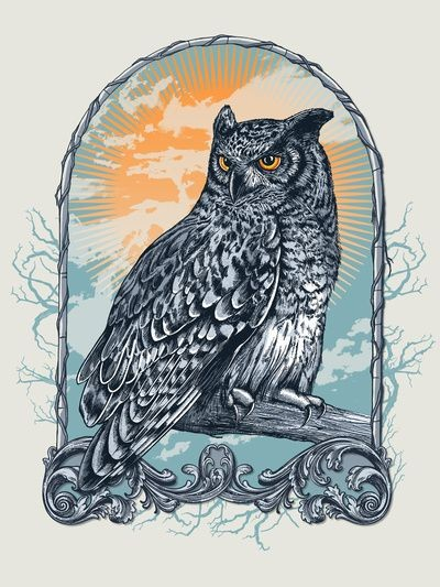 Orange-eyed grey-feather animal in beautiful iron frame tattoo design