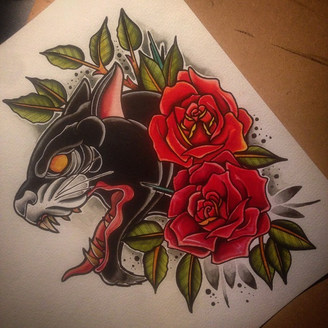 Orange-eyed panther and bright red roses tattoo design