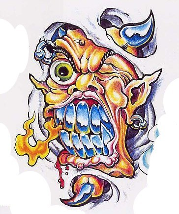 Orange-skin devil with blue teeth and horns breathing with fire tattoo design