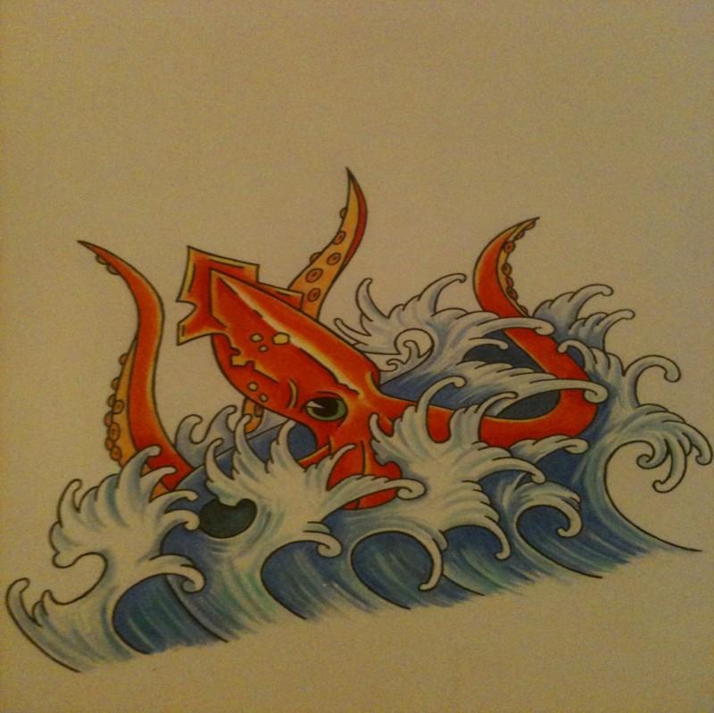 Orange high-headed water animal splashing in water tattoo design by Sleep Walker26