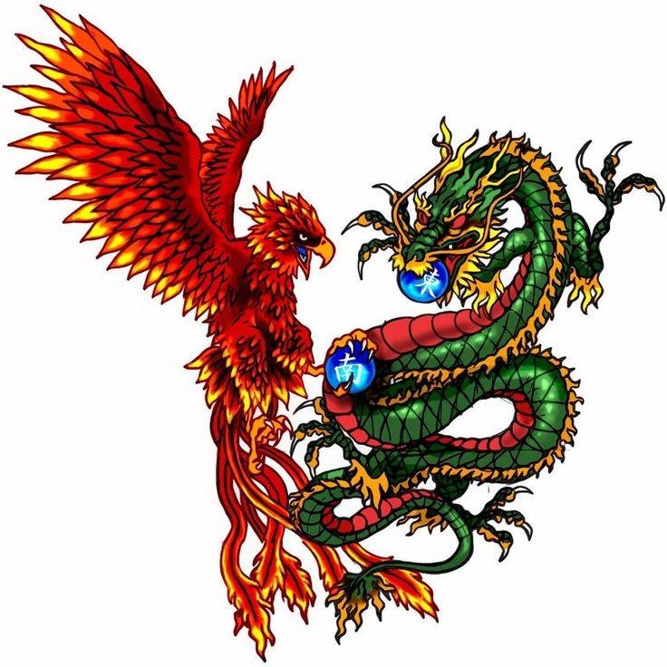 Orange phoenix and green dragon with blue chinese balls tattoo design