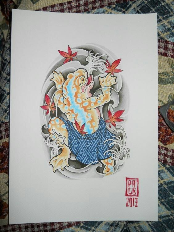 Orange reptile sleeping under blue plaid on japanese black waves and maple leaves background tattoo design