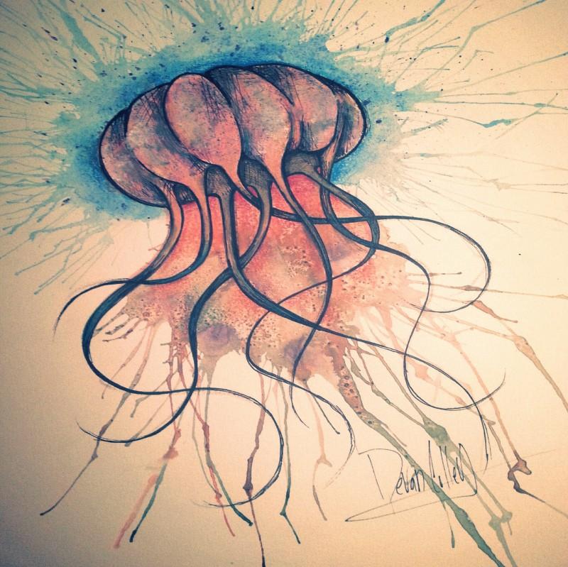 Orange watercolor jellyfish with blue splashed nimbus tattoo design