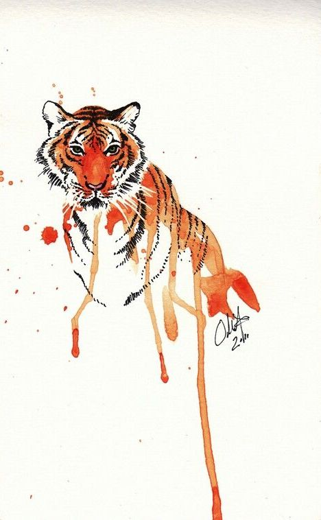 orange watercolor tiger portrait design