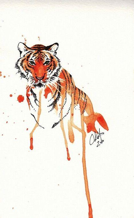 Orange watercolor tiger portrait tattoo design