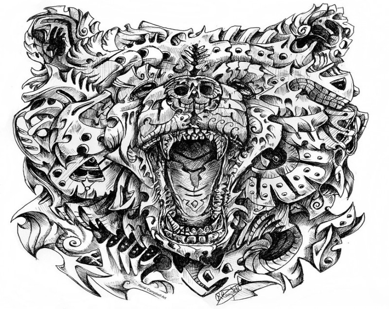 Original-ornamented grizzly head tattoo design by Nauvasca