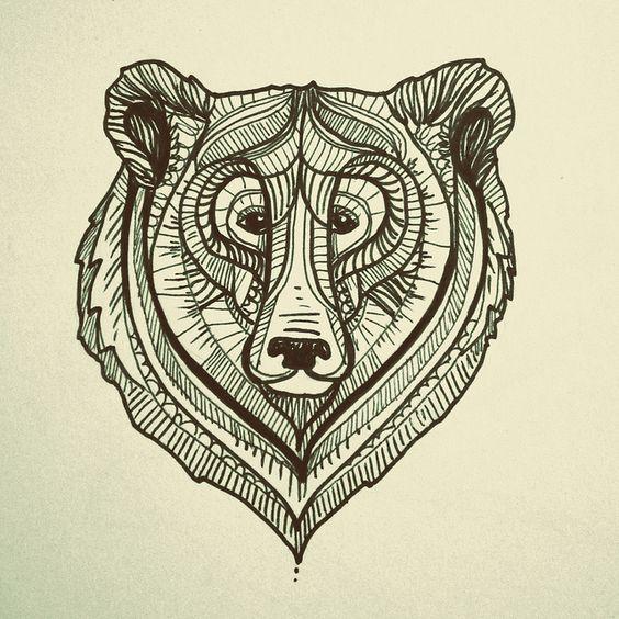 Original bear head tattoo design