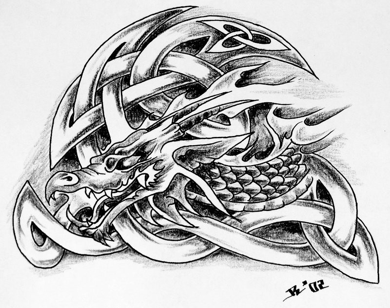 Original black-and-white dragon with celtic patterns tattoo design