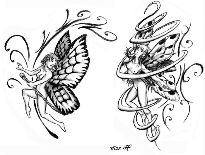 Original black-and-white fairy with decorations tattoo designs
