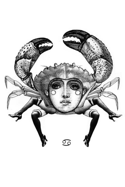 Original black-ink crab with girls face print on testa tattoo design